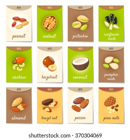 Set of AD-cards (banners, tags, package) with cartoon nuts - hazelnut, almond, pistachio, pecan, cashew, brazil nut, walnut, peanut, coconut, pumpkin seeds, sunflower seeds and pine nuts. Vector art.