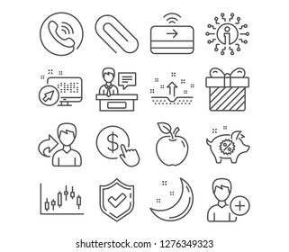 Set of Add person, Paper clip and Buy currency icons. Piggy sale, Exhibitors and Clean skin signs. Contactless payment, Candlestick graph and Surprise symbols. Vector