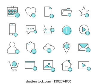 Set of add Related Vector Line Icons. Includes such icons as append, increase, gain, content and more.