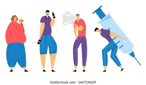 Set of Addicted Human Characters, Overeating, Smoking, Drug and Alcohol Addiction, Bad Habits, Self Destruction, Male and Female Characters Health Problems, Dependence Cartoon Flat Vector Illustration