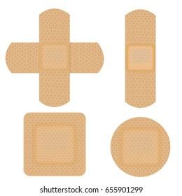Set of adhesive, flexible, medical plaster. Vector illustration isolated on white background