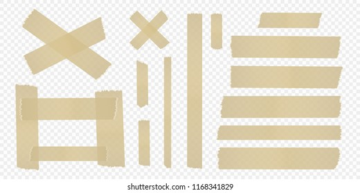 Set of adhesive tape on a separate transparent background. Vector elements for your designs.