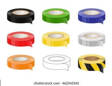 Set of adhesive tapes: black, green, blue, red, yellow, grey, orange, black and yellow caution tape. Isolated illustration. Vector. No transparency.