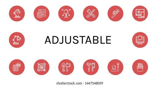 Set of adjustable icons such as Desk lamp, Responsive, Table lamp, Tools, Pipe wrench, Adjustment, Tool , adjustable