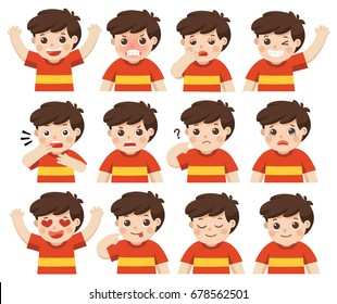 Set of Adorable Boy facial emotions. Boy face with different expressions. Schoolboy portrait avatars. Variety of emotions teen guy. Isolated vector