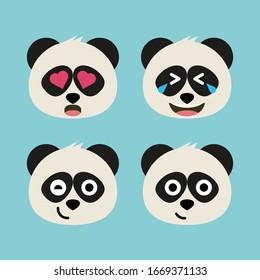 Set of adorable cartoon pandas with various emotions