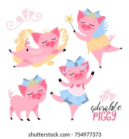 The set of adorable, cute, cartoon, flat pink piggy, pig. Pig in crown, with wings, fairy piggy, ballerina. Vector illustration suitable for kids t-shirt prints and other