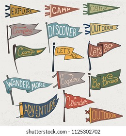 Set of adventure, outdoors, camping colorful pennants. Retro monochrome labels on textured background. Hand drawn wanderlust style. Pennant travel flags design