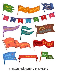 Set of adventure, outdoors, camping colorful pennants. Flags with summer camps slogans, textured background. Hand drawn style. Pennant travel flags design