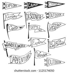 Set of adventure, outdoors, camping pennants. Retro monochrome labels. Hand drawn wanderlust style. Pennant travel flags design