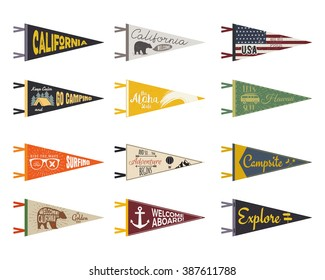 Set of adventure pennants. Pennant explore flags design. Vintage surf, caravan, rv templates. USA, California with summer camp symbols trailer, signpost, anchor, bear. Summer Hawaii old style.