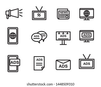 Set of advertisement and marketing icon related suitable for interface or modern graphic design, suitable for doodle too
