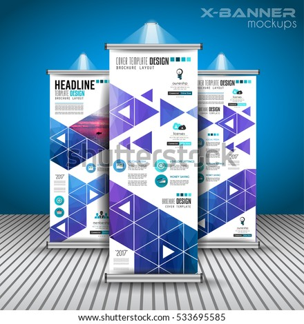 Set Advertisement Roll Business Flyers Brochure Stock Vector