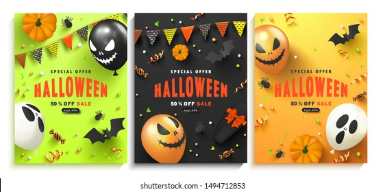 Set of advertising booklets Halloween Sale with scary balloons,coffin,candy, pumpkins, paper bats, spiders and serpentine.Vector illustration for website , posters, ads, coupons, promotional material