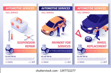 Set of Advertising Brochure for Automobile Service. Flayers with Contact Information and List of Services. Suspension Repair, Payment for Work and Wheel Replacement Posters. Vector 3d Illustration