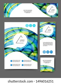 Set of advertising flyers and banners with abstract waves and lines