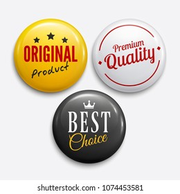 Set of advertising glossy badges. Product promotions. Premium quality, original product, best choice. Vector.