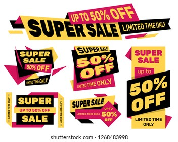 Set of advertising labels – SUPER SALE 50% off – Limited time only