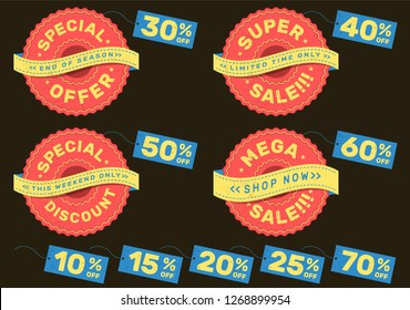 Set of advertising labels for super sale, special offer, mega sale and special discount with vintage look