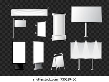 Set of advertising pillars, columns, pennants - modern vector isolated objects
