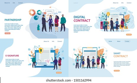 Set Advertising Poster E-signature  Lettering. Banner Smart Contrac, Partnership, Digital Contract. Favorable Working Conditions. Conclusion Cooperation Agreement. Vector Illustration.