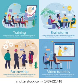 Set Advertising Poster Video Tutorials, Lettering. Banner Inscription Training, Brainstorm, Partnership. Head Increases Efficiency his Company. Woman Holds Meeting for Company Partners.