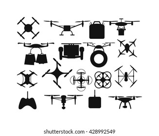 Set of aerial drone quadrocopters icons and emblems isolated on white