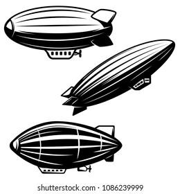 Set of aerostat illustrations on white background. airships zeppelins. Design elements for logo, label, emblem, sign. Vector image