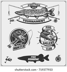 Set af fishing labels with a pike and fishing tackle. Fishing emblems and design elements.