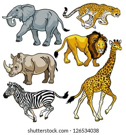 set with africa animals,beasts of savanna,pictures isolated on white background,vector illustration