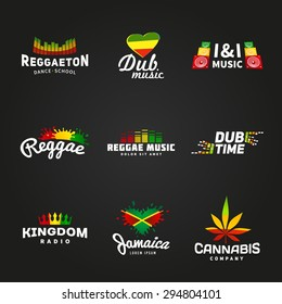 Set of africa flag logo design. Jamaica music vector template. Colorful dub time company concept on dark background.