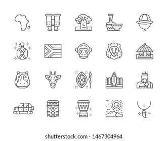 Set of Africa Line Icons. Tooth Pendant, Binoculars, Ethnic Pottery, Cork Helmet, Water Flask, Traditional House, Offroad Car, Tribal Mask, African Animals and more. Pack of 48x48 Pixel Icons