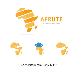 Set of africa logo combination. Safari symbol or icon. Unique continent logotype design template.