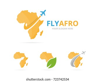 Set of africa logo combination. Safari and travel symbol or icon. Unique geography, continent and flight logotype design template.