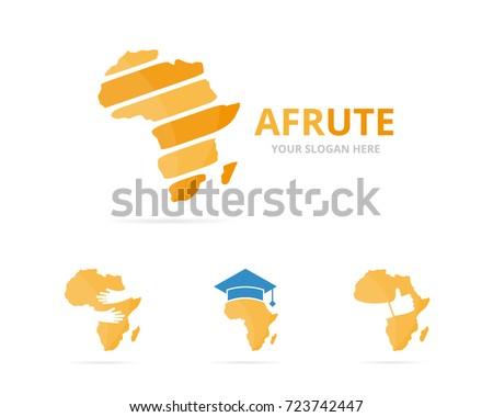 set africa logo combination safari symbol stock vector royalty free