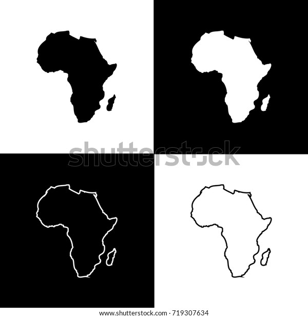 Set Africa Map Designs White Black Stock Vector (Royalty Free