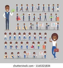 Set of african american businessman and business woman or office worker characters in suits with various poses, face emotions and gestures. Isolated flat vector illustration