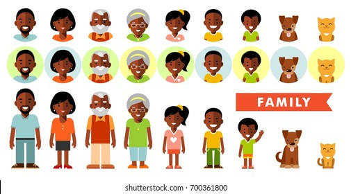 Set of african american ethnic family members in flat style. Happy family of seven african american ethnic people and two pets, full length and avatars, isolated on white background