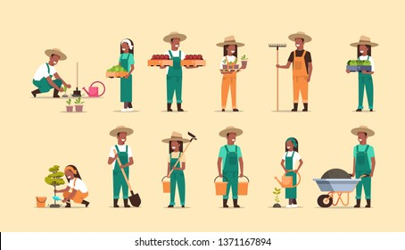 set african american farmers holding different farming equipment harvesting planting vegetables male female agricultural workers collection eco farming concept full length horizontal