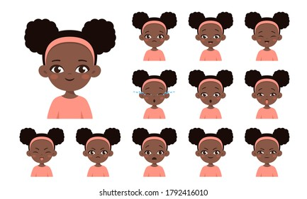 Set of african american girl with different facial expressions. Collection girl emotions face. Cartoon character design. Happy, smile, angry, sad, crying, offended. Vector isolated on white background