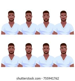 Set of African American man's emotions. Vector cartoon illustration.