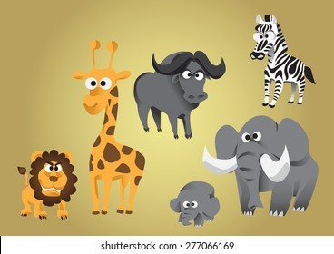 Set of the African animal cartoon characters in colorful with lion, Elephant, Giraffe, buffalo and zebra