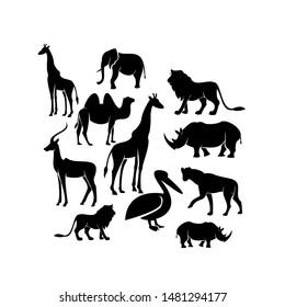 set african animal silhouette black logo icon design vector illustration