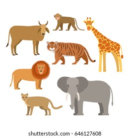 A set of African animals. Flat vector illustration isolated on white background