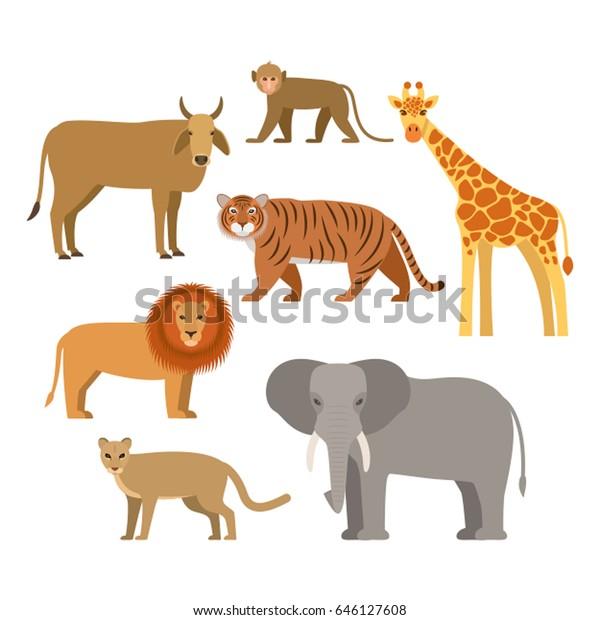 Set African Animals Flat Vector Illustration Stock Vector (Royalty ...