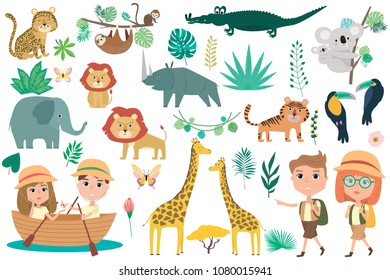 Set of African animals, plants and traveler character. Editable vector illustration
