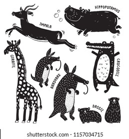 A set of African animals printed in a rough stamped style like a woodcut print - Giraffe, Hippo, Crocodile, Aardvark, Dassie and Impala. Vector ilustration.