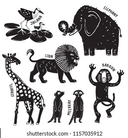 A set of African animals printed in a rough stamped style like a woodcut print - Giraffe, Elephant, Jacana, Lion, Baboon and Meerkats. Vector ilustration.