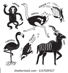 A set of African animals printed in a rough stamped style like a woodcut print - Baboon, Ostrich, Penguins, Flamingo and Kudu. Vector illustration.