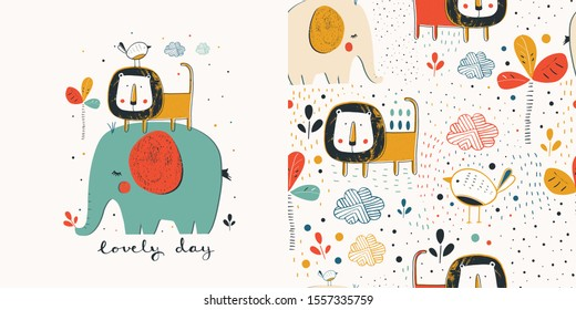 Set  with African animals and Safari seamless pattern . elephants, lions birds and tropical plants. Can be used for t-shirt print, kids wear fashion design, baby shower invitation card.